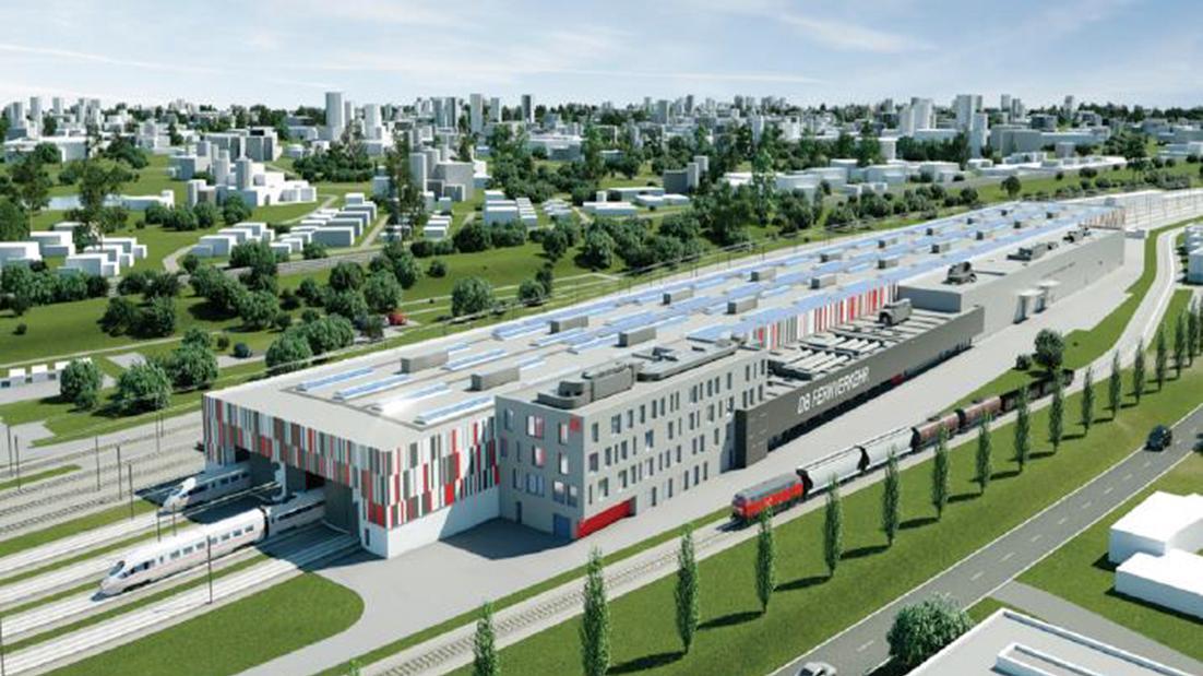 So könnte das neue ICE-Werk aussehen, dass bis 2028 für 400 Millionen Euro im Raum Nürnberg entstehen und 450 neue Arbeitsplätze bieten soll.