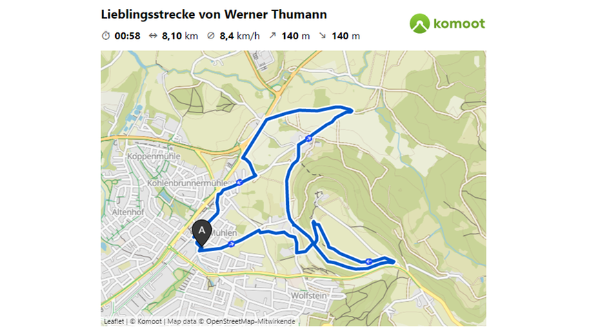 Hier geht es zur Lieblingsstrecke von Werner Thumann.  © OpenStreetMap-Mitwirkende