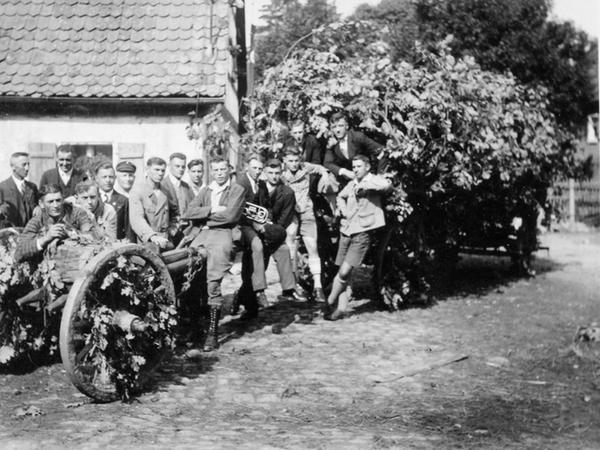 """Ein Bild aus dem Jahr 1928: Die Rednitzhembacher Kirchweihbuben – heute würde man """"Kärwaboum"""" sagen – beim Einholen des Kirchweihbaums."""