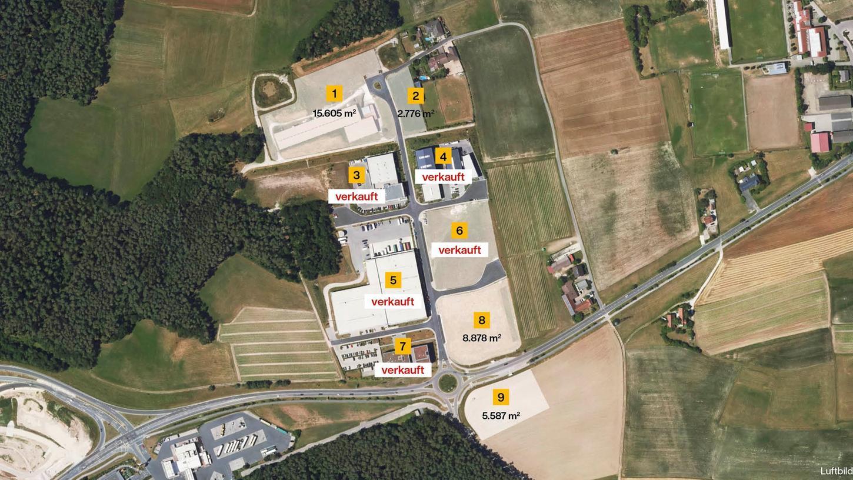 Im Schwabacher Gewerbepark West stehen noch vier Flächen zum Verkauf: 1, 2, 8 und 9.Die mögliche Ausweisung weitere Gewerbeflächen wollen OB-Reiß und Wirtschaftsreferent Sascha Spahic im Sommer im Wirtschaftsauschuss besprechen.