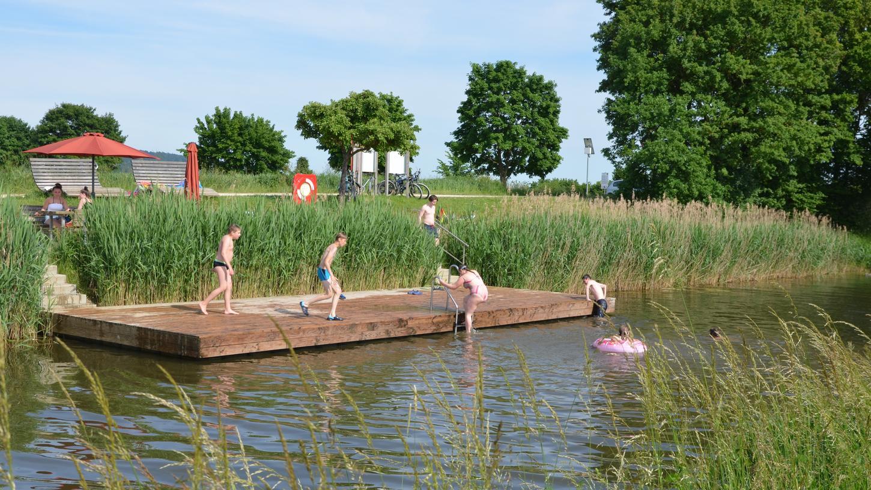 """Ein vergnügtes Treiben an der Kanalbadestelle """"Röthbrücke"""" bei Berg. Nicht nur zahlreiche Kinder haben ihren Spaß, auch Stockschützen und Radlfahrer vom """"Fünf-Flüsse-Radweg"""" machen dort gerne Halt. Ebenso das Schwanenpaar mit ihrem Nachwuchs, welche dem Treiben neugierig zusehen und mit """"Schwanengesang"""" honorieren."""