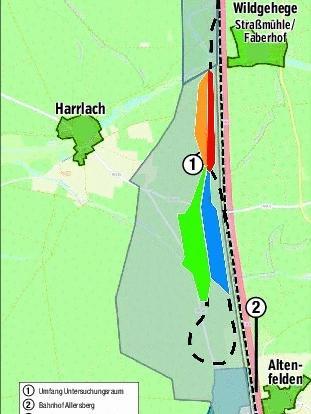Ein Lageplan des möglichen ICE-Werkes nordwestlich vonAllersberg.
