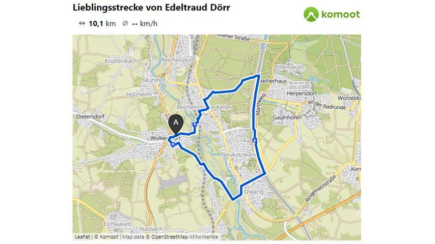 Hier geht es zur Lieblingsstrecke von Edeltraud Dörr.  © OpenStreetMap-Mitwirkende
