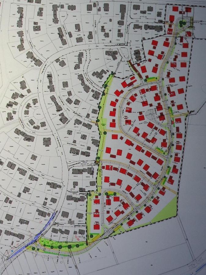 So sieht der Plan für den Reutberg III aus (farbiger Teil). Die neue Straße, die sich von Süd nach Nord zieht, ist gut zu erkennen. Von dort zweigen kleinere Straßen ab.