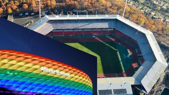Nürnberger Stadion leuchtet am Mittwoch in Regenbogenfarben