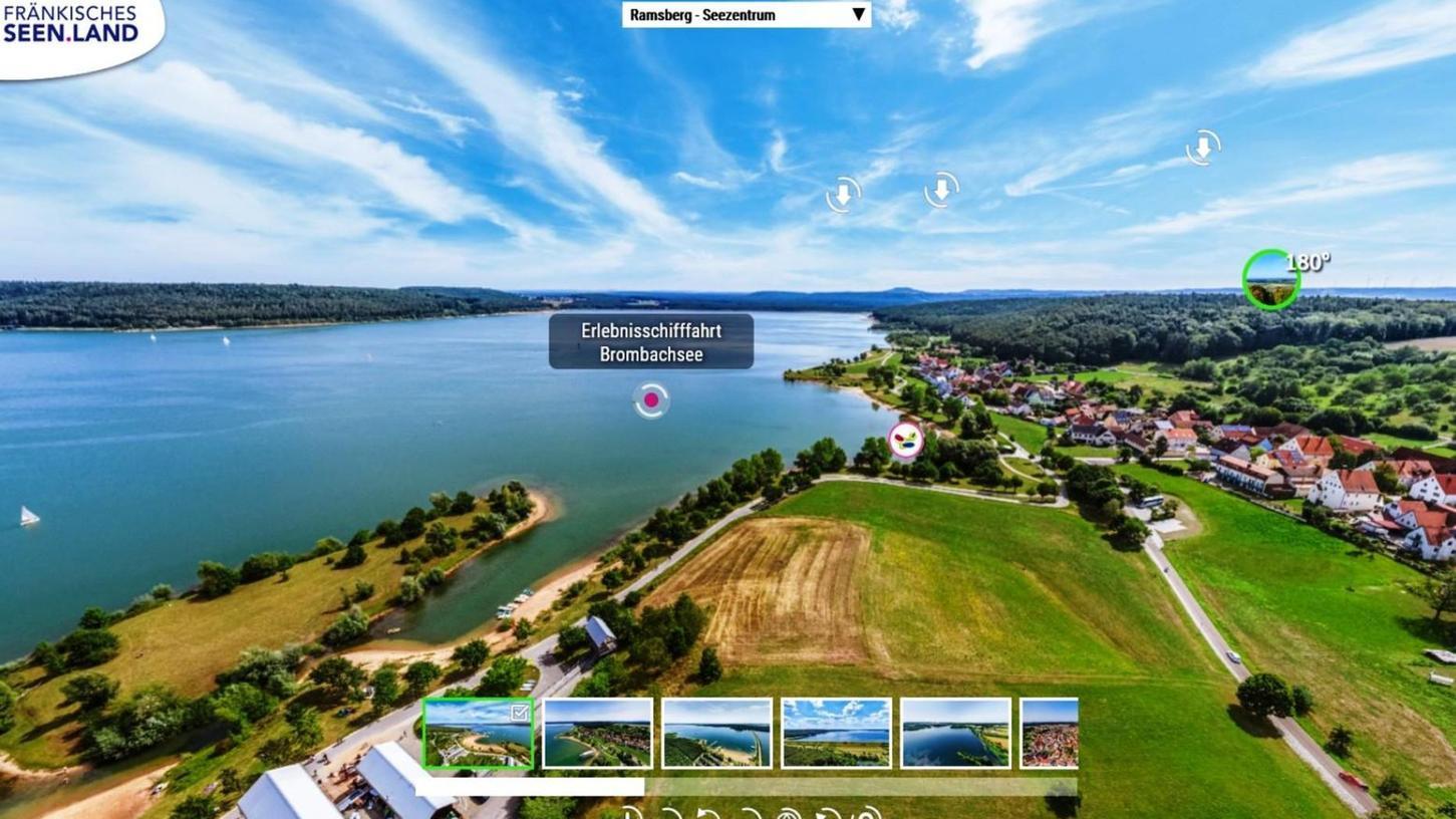 """Digital durchs Seenland reisen: Das Online-Marketing-Tool """"MultiMaps 360º"""" macht's möglich, hier das Seezentrum und der Ort Ramsberg am Brombachsee."""