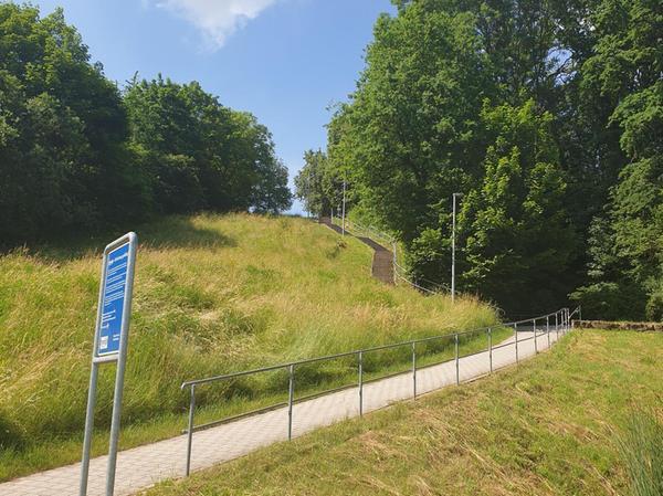 Wer sich maximal fordern will, kann zum Abschluss der Laufeinheit noch die Treppen zum Absberger Bürgergarten hinaufsprinten.