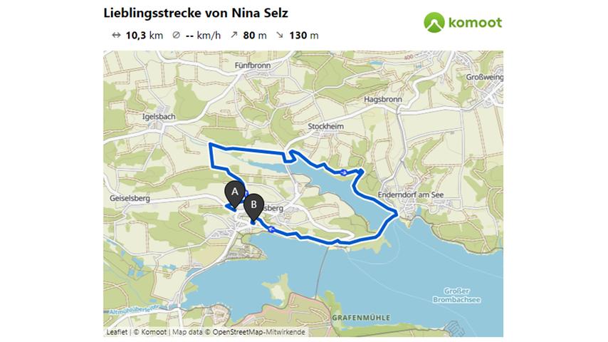Hier geht es zur Lieblingsstrecke von Nina Selz.  © OpenStreetMap-Mitwirkende
