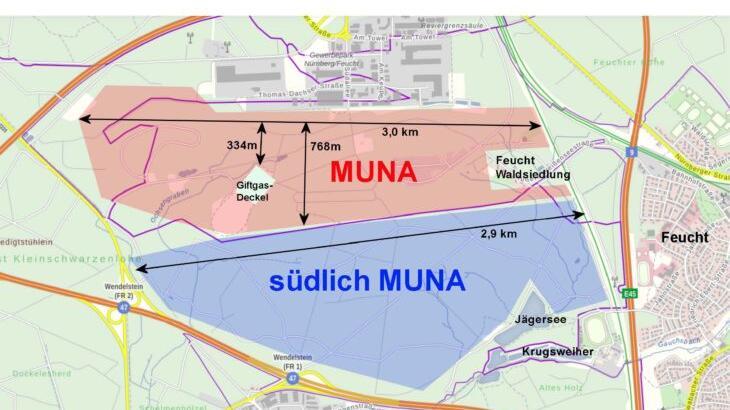 Die farblich markierten Bereiche zeigen die Flächen, die die Bahn untersucht. Das Werk selbst benötigt nur einen Bruchteil des jeweiligen Gebietes: nämlich 35 bis 45 Hektar.