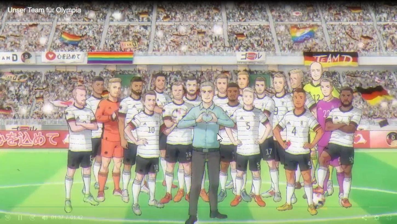 Herz zeigen für Deutschland: Seine Auswahl für das Fußballturnier stellte der DFB im Anime-Stil vor. Neben dem Fürther Anton Stach sind auch sein ehemaliger Kollege David Raum sowie die Ex-Nürnberger Cedric Teuchert und Eduard Löwen dabei.