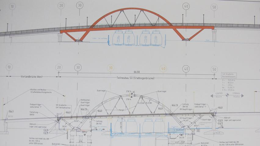 Das Bild der Brücke wird sich komplett ändern.Aus der grauenBeton-Konstruktionwird eine roteStahl-Rundbogenbrücke.