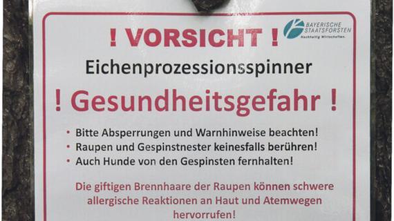 Mit solchen Warnhinweisen weisen Forstleute auf die Gesundheitsgefahr durch den Eichenprozessionsspinner hin.