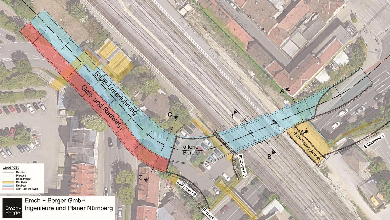 Die Stadt-Umland-Bahn soll auf dem Weg zu den Arcadenan der Güterhallenstraße in Erlangen die DB-Trasse unterqueren. Ein aufwendiges Projekt, das in der zweiten Hälfte des Jahrzehnts angegangen wird.
