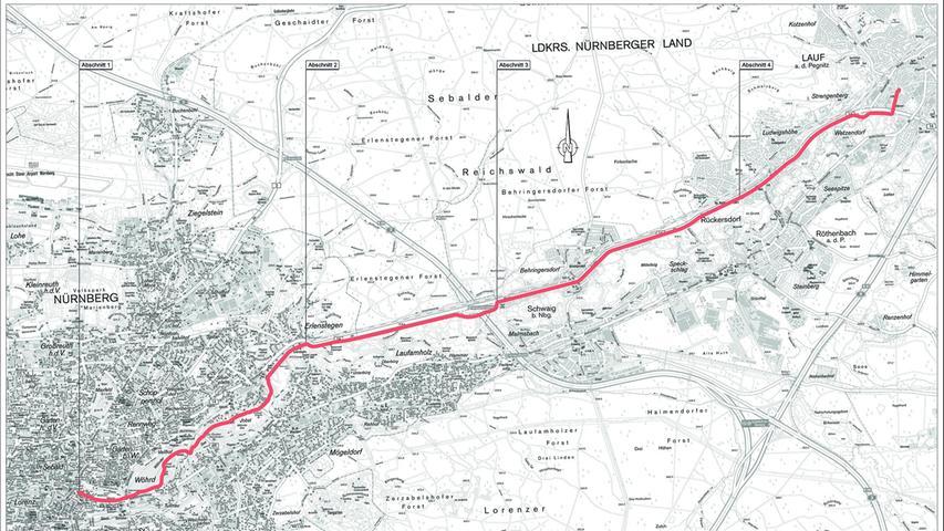 Die Trasse der geplanten Radschnellverbindung verläuft vor allem entlang der B14 zwischen Nürnberg und Lauf.
