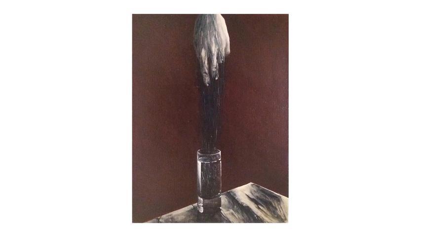Das Gemälde von Nina Gross (Öl auf Leinwand) hat keinen Titel.