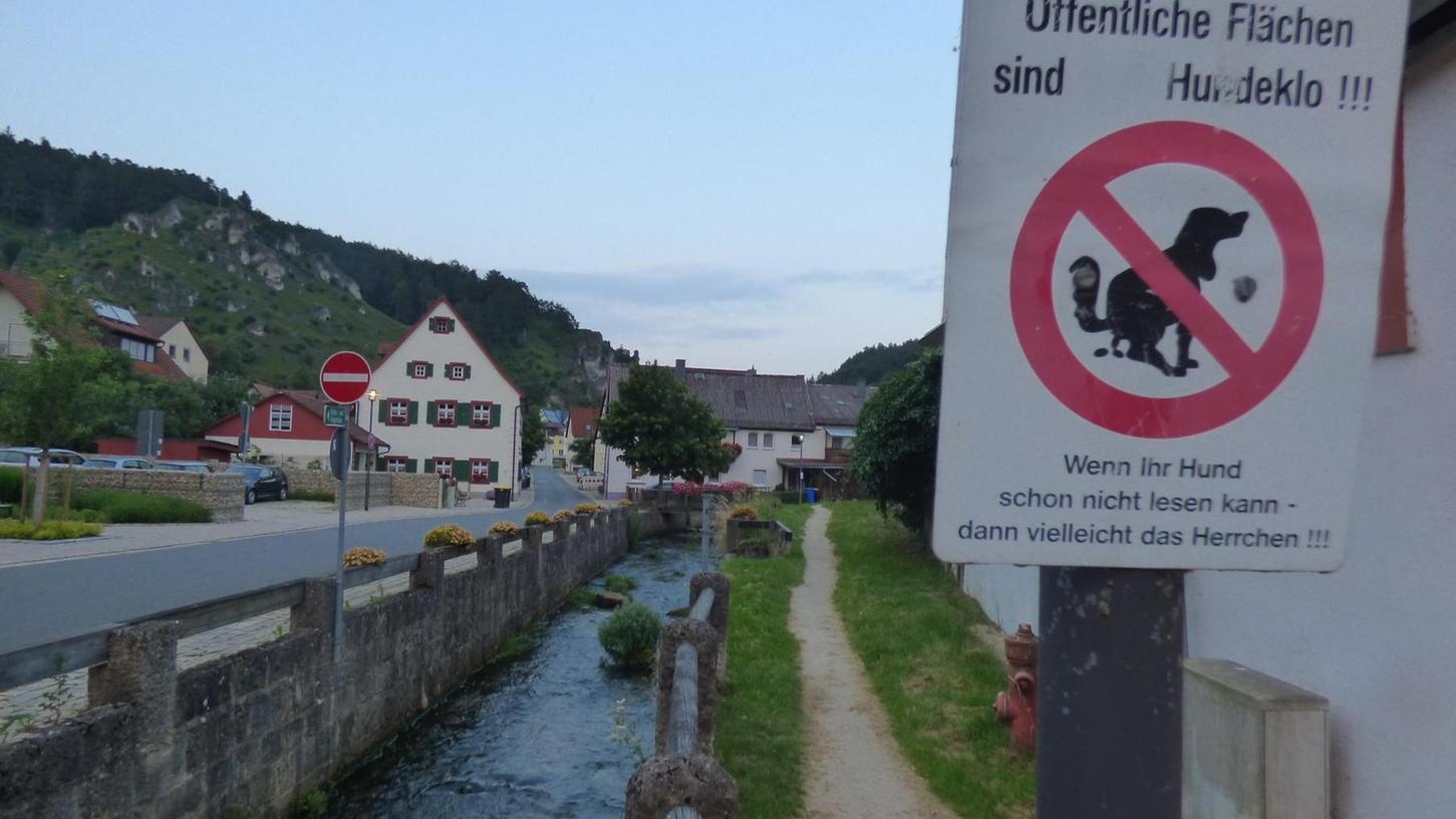 """Blick in den Stadtgraben, wo das erste Schild """"Öffentliche Flächen sind Hundeklo!"""" hängt. Jemand hat das Wort """"kein"""" vom Schild weggekratzt."""