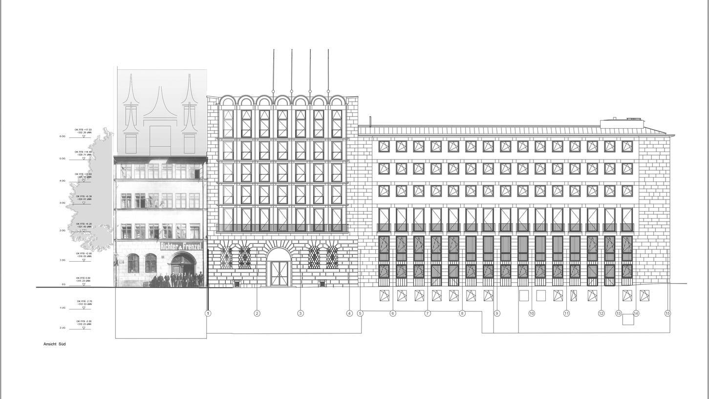 Der Plan des städtischen Baureferats zeigt, dass das  (grau schraffierte) Dach des geplanten Schwarzen Pellerhauses (links) das bestehende Pellerhaus deutlich überragen würde.