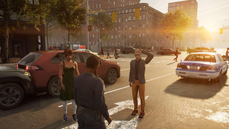 Auffahrunfall an der Kreuzung: Jetzt muss der Spieler als Streifenpolizist seinen Mann stehen – oder seine Frau.