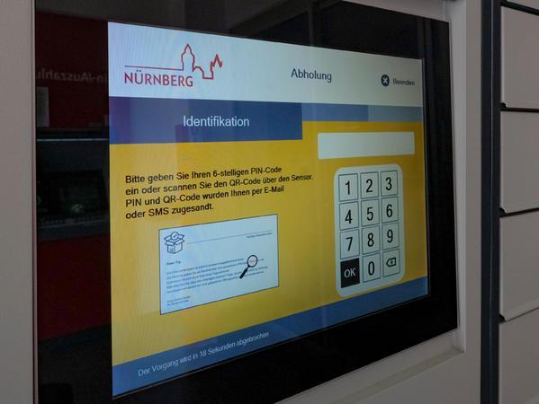 An so einem Monitor in vier Geschäftsstellen der Sparkasse Nürnbergkönnen künftig Angelegenheiten erledigt werden, für die man bisher in eines der Bürgerämter gehen musste.