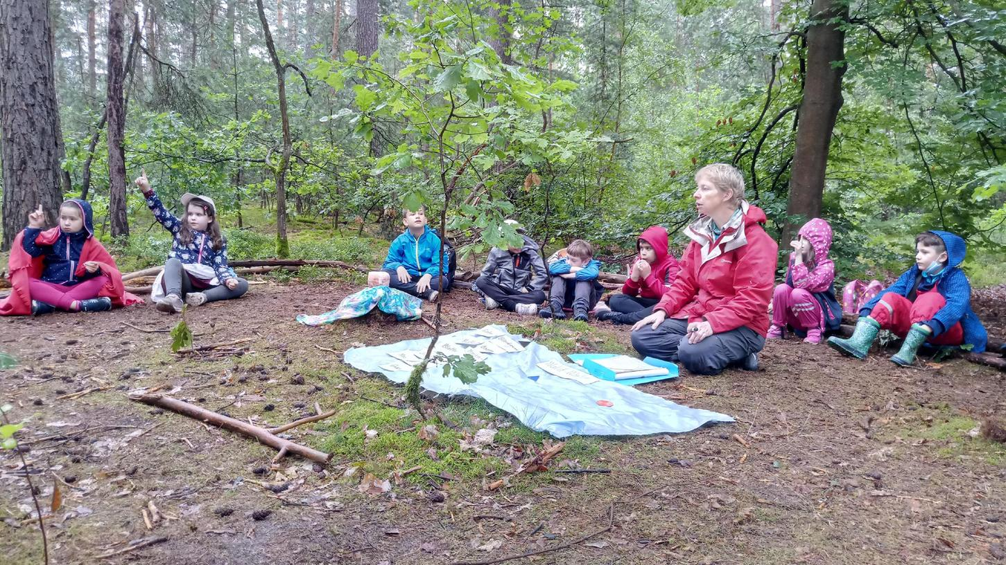 Der Wald wird zum Klassenzimmer: Stefanie Horn unterrichtet derzeit einmal in der Woche in der Natur.