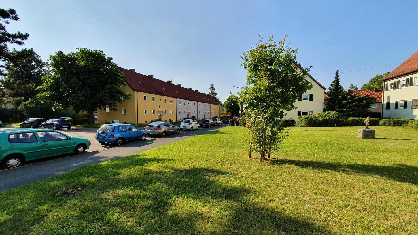 """""""Ein Schmarrn"""": Am Finkenschlag, wo es vor den Häusern Grünflächen und hinter den Häusern Gärten gibt, fragen sich viele Anwohner, wozu sie eine Sommerstraße brauchen."""