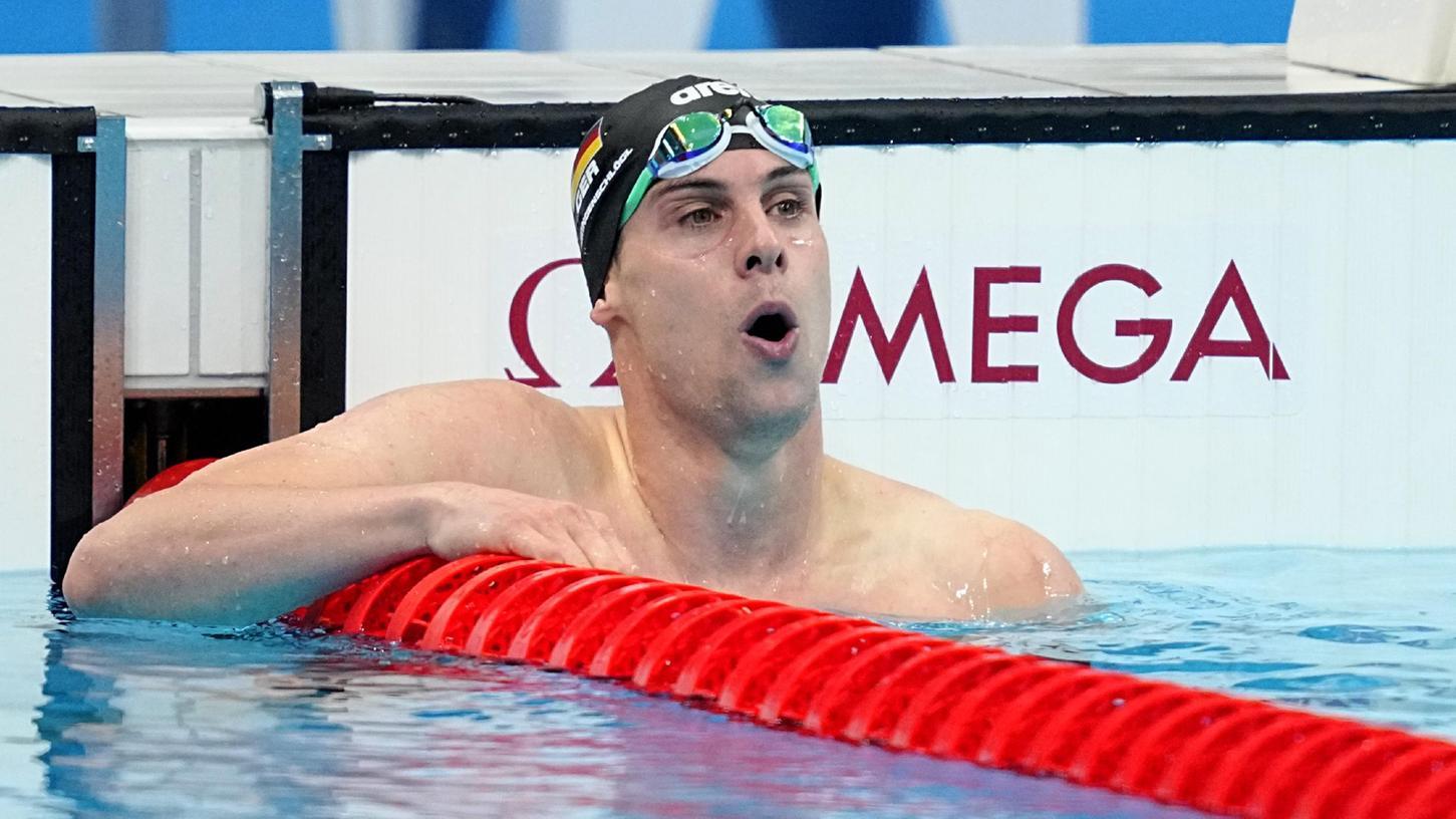 Tief durchatmen: Fabian Schwingenschlögl taucht nach dem Halbfinale aus dem Wasser des Aquatics Centre auf und überlegt, ob seine Zeit fürs Finale reichen könnte.