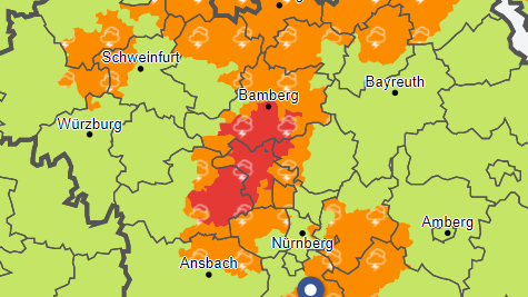 Der Deutsche Wetterdienst spricht am Sonntagnachmittag einige Wetterwarnungen für Teile Frankens aus.