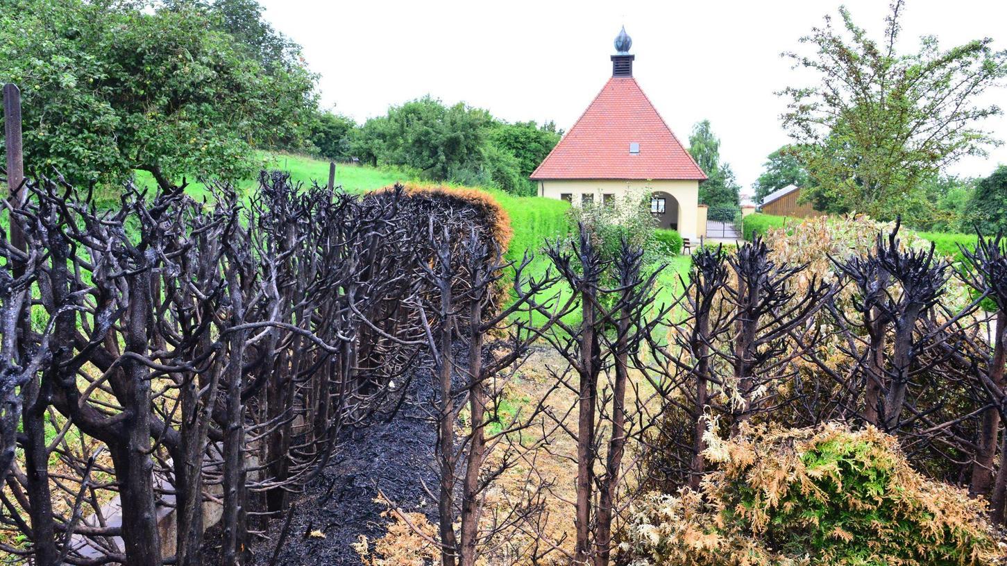 Der Feuerteufel in Übermatzhofen hat ende Juli 2021 erneut zugeschlagen - das  achte mal seit 2019. Diesmal ging ein Stück der Friedhofshecke in Flammen auf.