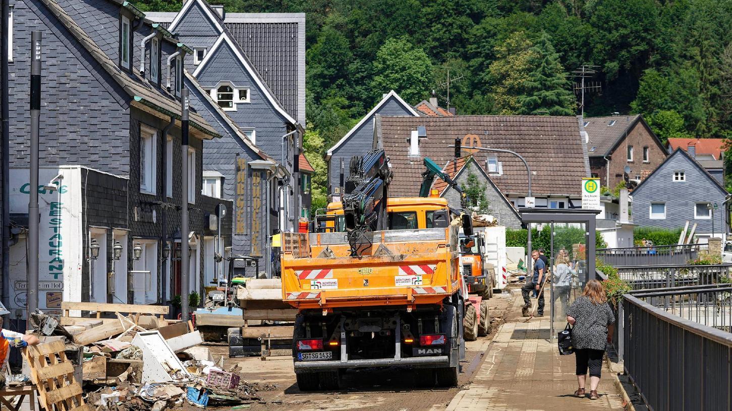 Das Ausmaß der Zerstörung durch dieWetterkatastrophe in Nordrhein-Westfalen ist, wie hier in Solingen, immens.