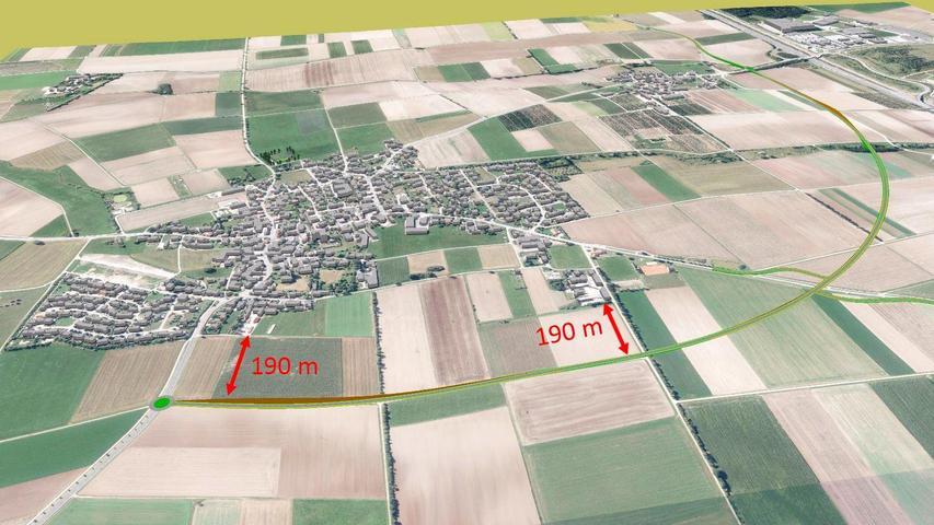 Die Nordvariante ist zwar aufwendiger zu realisieren, dafür beträgt die Entfernung zum Ortsrand von Meckenhausen etwa 190 Meter.