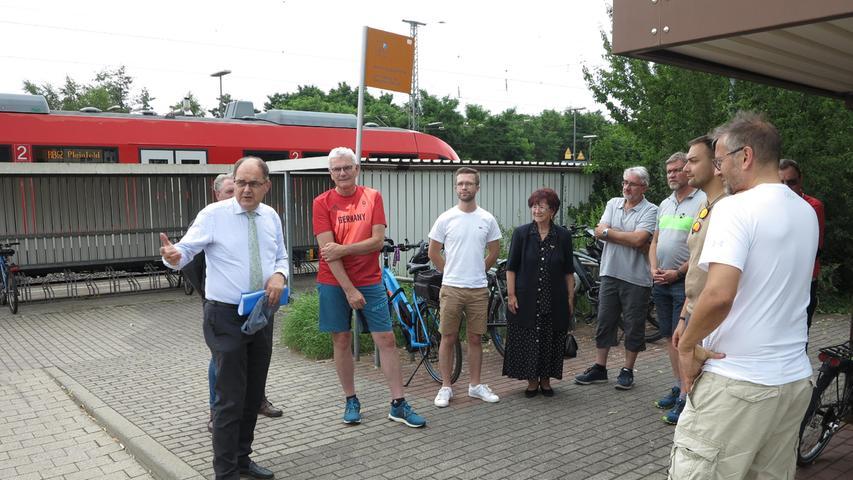 Wolfgang Dressler, Juli 2021 Gunzenhausen Bahnhof CSU Termin mit MdB Artur Auernhammer und Christian Schmidt am Gleis