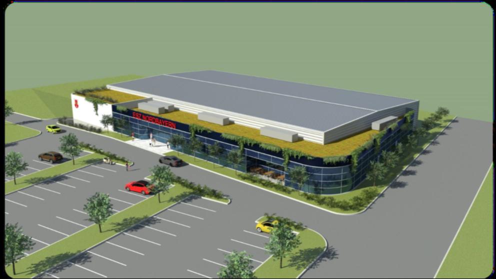 Der Entwurf für das Sportzentrum der Zukunft, wie der ESC es sich wünscht: Die Eis- und Schwimmsportler wollen das 3600 Quadratmeter große Vereinsgelände von der Stadt kaufen und noch erweitern.