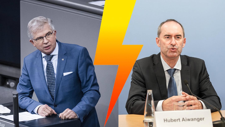 Andrew Ullmann (links), Arzt und FDP-Bundestagsabgeordneter, fordert den Rücktritt von Hubert Aiwanger (rechts), stellvertretender Ministerpräsident in Bayern und Chef der Freien Wähler.