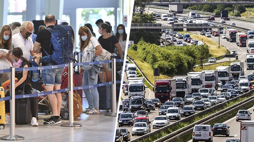 Ferienstart in Bayern: Stau auf der Autobahn, Hochbetrieb am Flughafen