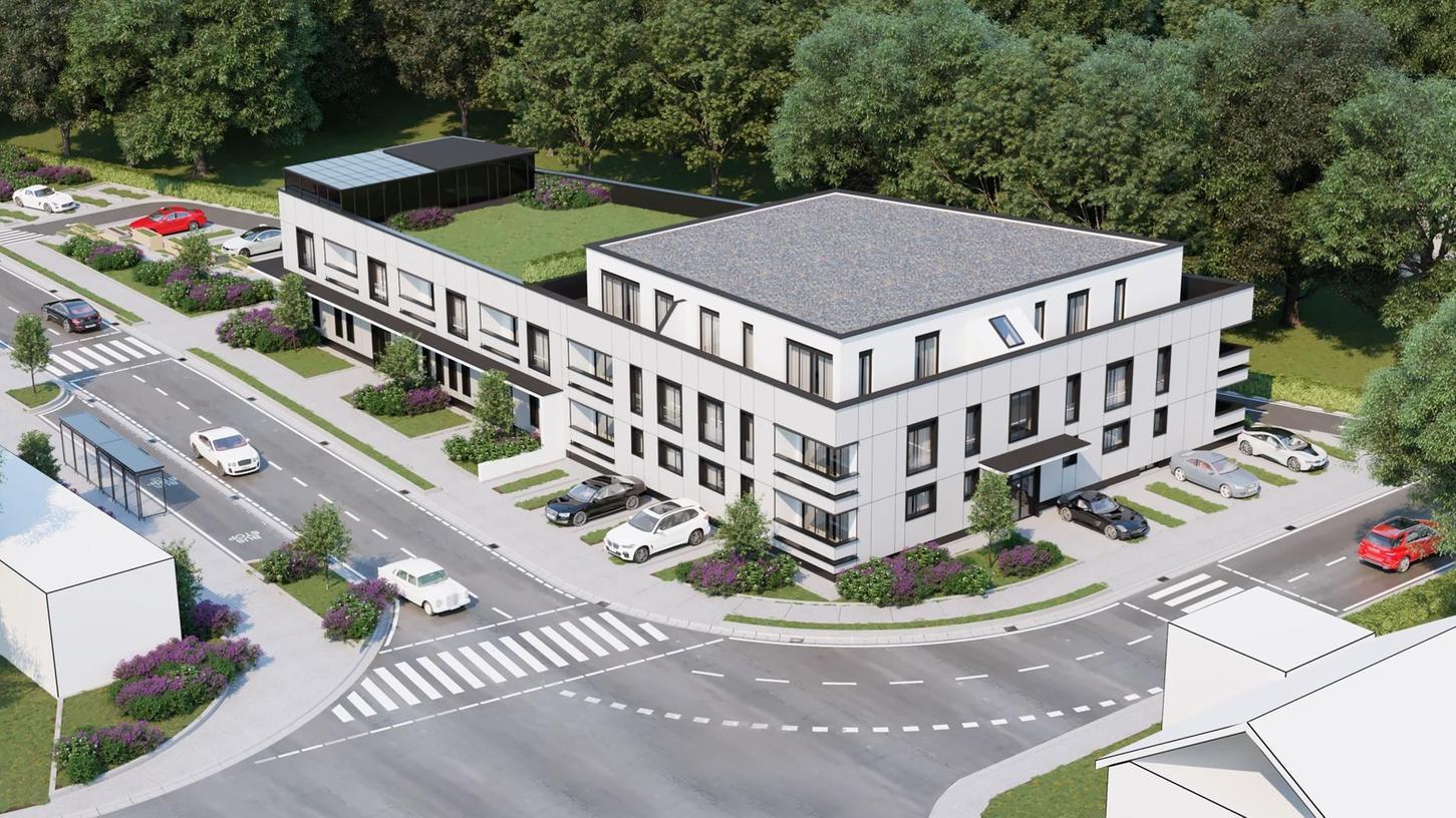 So sieht die Planung für das neue Hotel mit Wohnungen in Rednitzhembach an der Ecke Penzendorfer Straße/Ringstraße  aus.