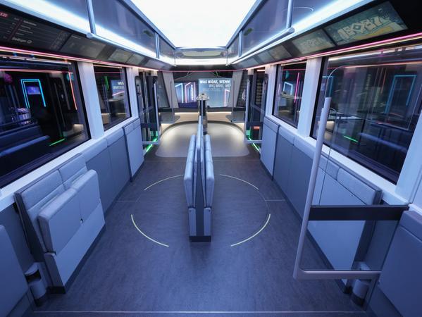 Wenn hohes Passagieraufkommen herrscht, lassen sich die Sitzmöbel wegklappen.