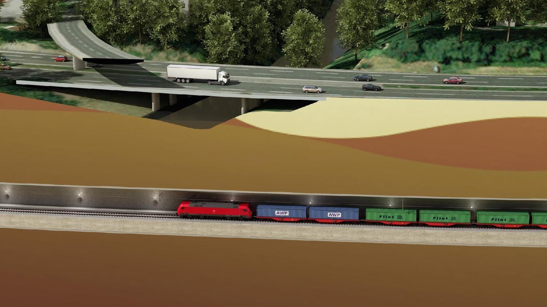 In 40 Metern Tiefe sollen die Güterzüge künftig unter der Pegnitz und der Stadtgrenze von Nürnberg und Fürth durchrollen, bevor sie mehrere Kilometer lang zunächst unterirdisch und dann an der Oberfläche an der A73 entlangfahren. Hier, unter dem Fluss, befindet sich die tiefste Stelle.