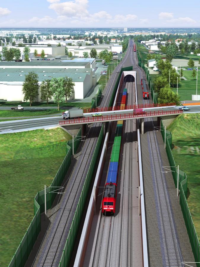 Hier geht es südlich des Nürnberger Großmarkts durch das Süd-Portal des Tunnels in die Tiefe. Zuvor muss die Rothenburger Straße unterquert werden. Die dortige Brücke muss dafür komplett neu gebaut werden.