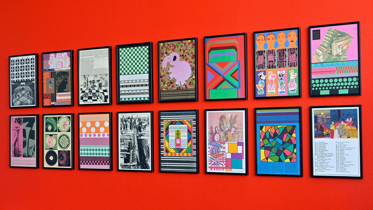 Pop-Art auf knallroter Wand: Diese Bilder hängen sozusagen im Rücken des Oberbürgermeisters.