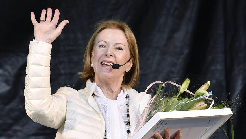Anni-Frid Lyngstad in ihrer Heimstadt Torshälla (Schweden) im Jahr 2017.