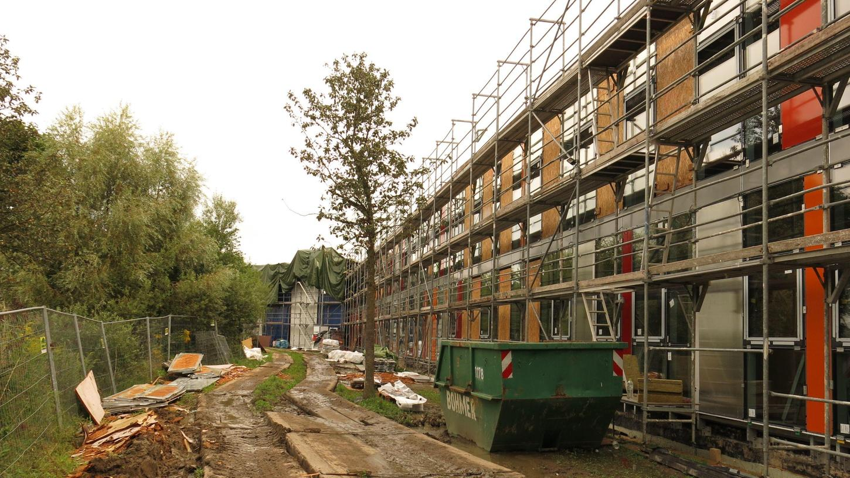 Aufwendig saniert wird derzeit die Fassade des Eckentaler Gymnasiums. Durch Engpässe bei der Lieferung von Baumaterial ließen sich Verzögerungen nicht vermeiden.