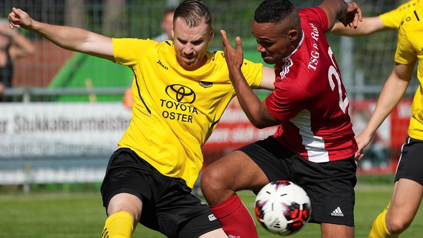 Einsatz und Kampfgeist wollten sie zeigen, die Männer des FV Dittenheim (in gelb). Das klappte gegen eine defensiv wackelige Rother Elf gut – erstmals in dieser Saison holte der FV auswärts drei Punkte.