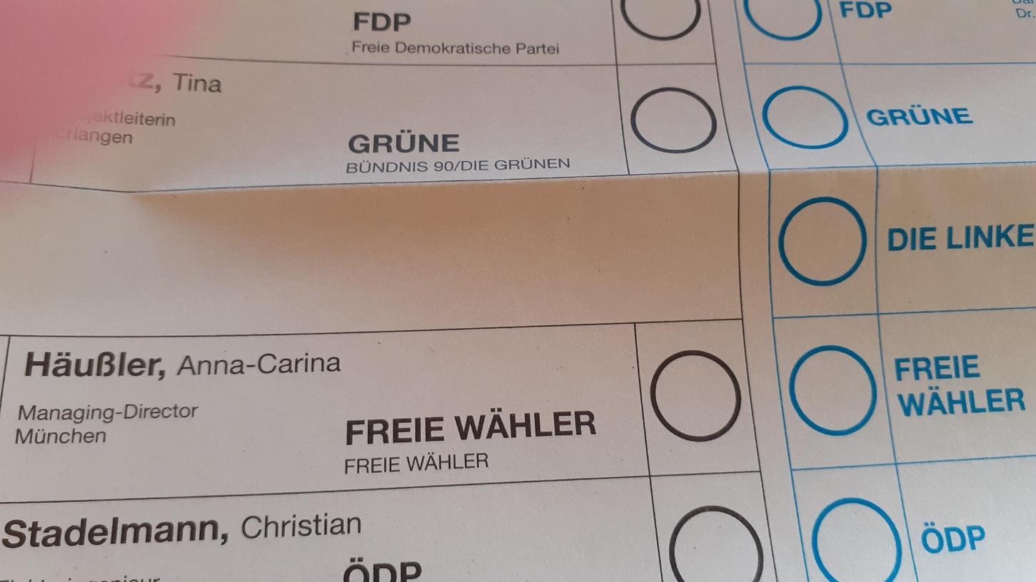Wahlzettel für den Stimmkreis Erlangen 242, auf dem der Name der FW-Kandidatin Anna-Carina Häusler fälschlicherweise als Anna-Carina Häußler geschrieben wurde