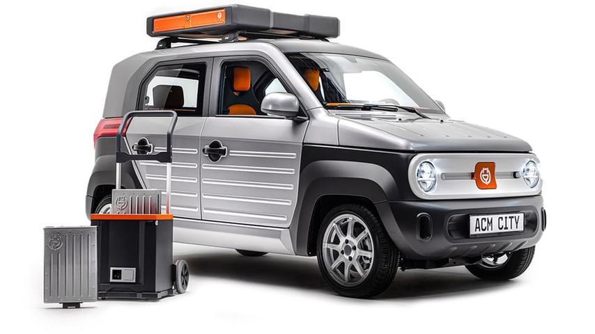 Der elektrische Kleinstwagen ACM City One mit seinen austauschbaren Akkus - hier trägt er sie auf dem Dach - soll 2024 in die Serienproduktion gehen und schon ab 10.000 Euro erhältlich sein.