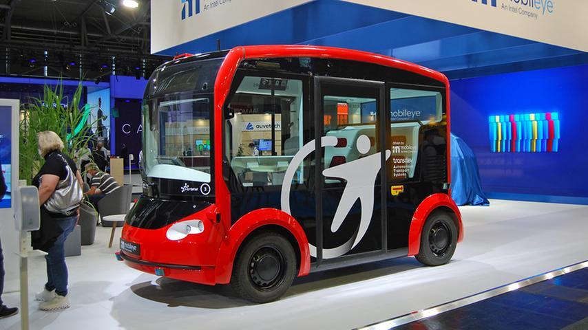 Auch autonome Shuttles wie dieser des israelischen Unternehmens Mobileye gehören zur Mobilitätsmesse.