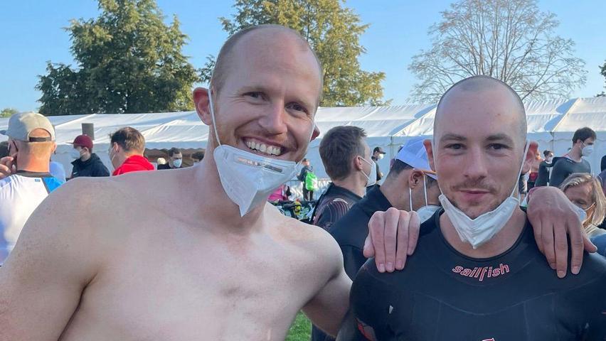 Rettete als Schwimmer eine Challenge-Staffel: Philipp Sand aus Ellingen (links, hier mit Kevin Berns) sprang kurzfristig ein.