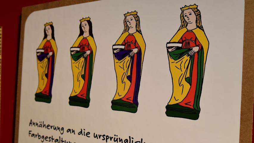 Die Heilige Elisabeth und die Erklärung des Versuchs einer Annäherung an die ursprüngliche Farbgestaltung.