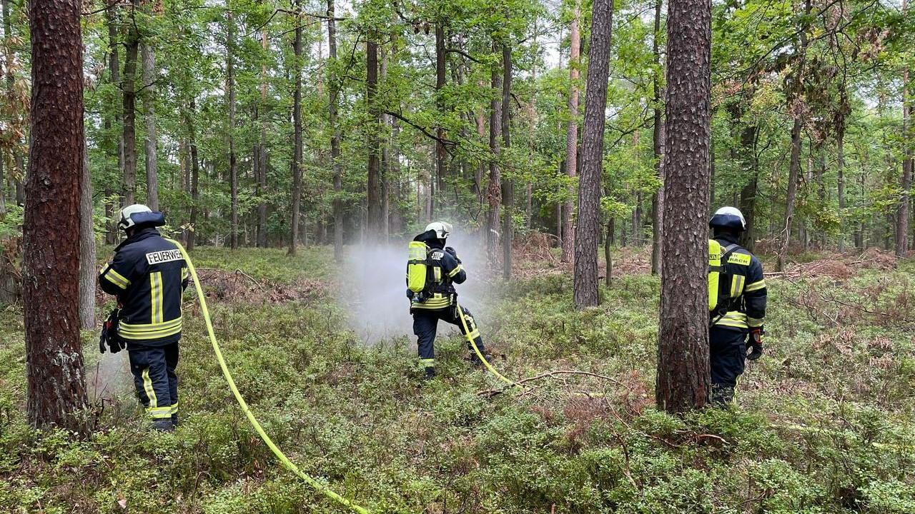 Mitten in einem Waldstück bei Herzogenaurach probten rund 70 Feuerwehrmänner und -frauen am Samstagvormittag für den Notfall.