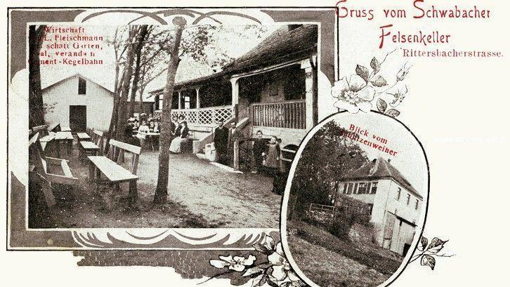 Über 100 Jahre alt ist diese Postkarte von 1916, die den Felsenkeller zeigt. Sie stammt aus der Sammlung von Hans Schmitt.