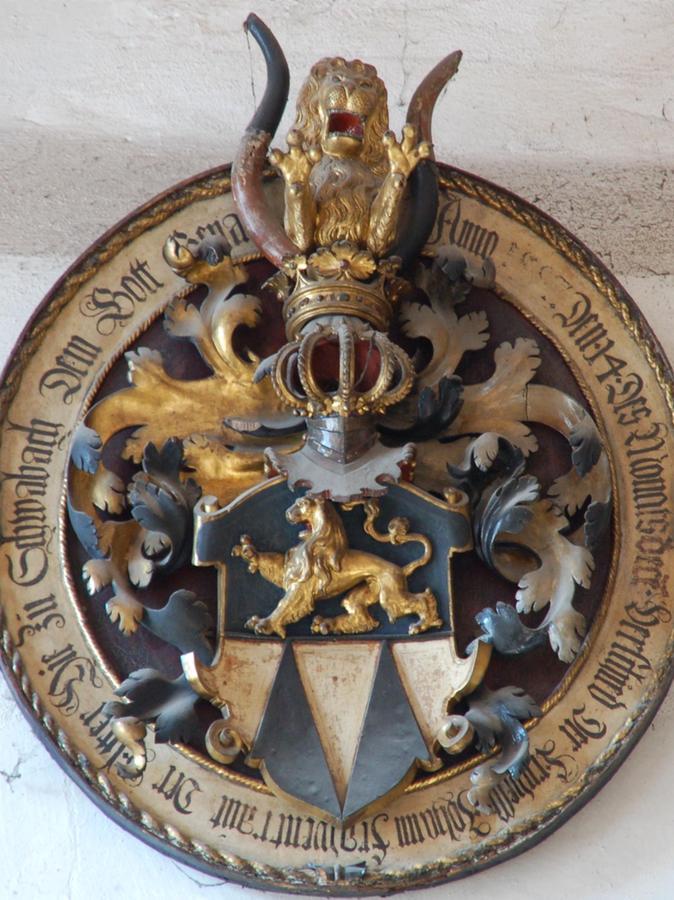 Totenschild in der Stadtkirche für den 1587 verstorbenen Johann Frauentraut den Älteren.